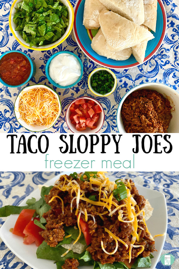 "small bowls of lettuce, salsa, sour cream, tomatoes, green onions, seasoned meat, cheese, and buns with text that reads ""Taco Sloppy Joes freezer meal"""