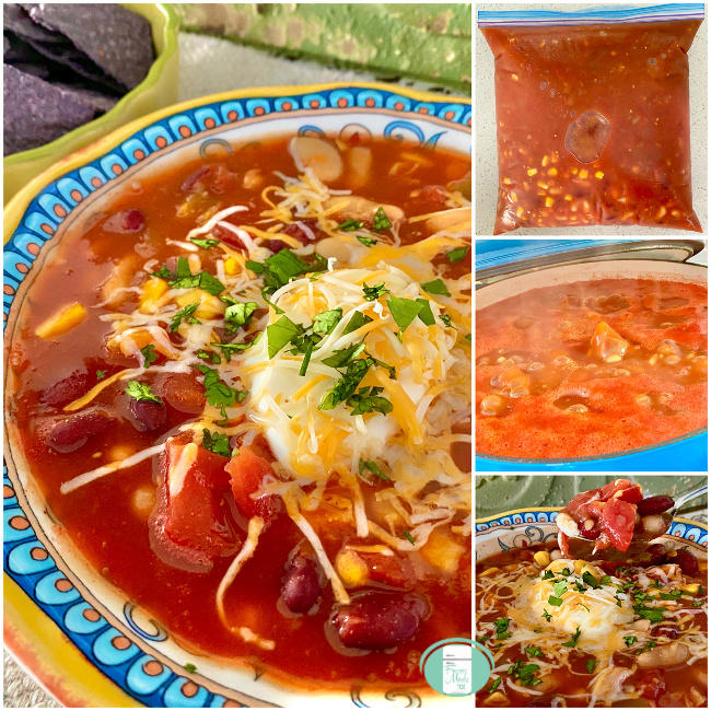 collage of vegetarian taco soup in a freezer bag, in a pot and served in a bowl with sour cream and cheese on top