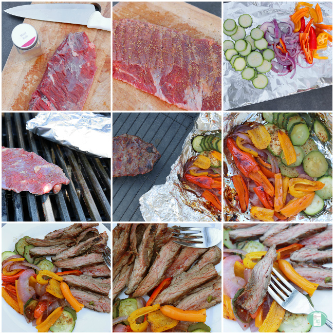 collage of steps to make grilled flank steak with veggies