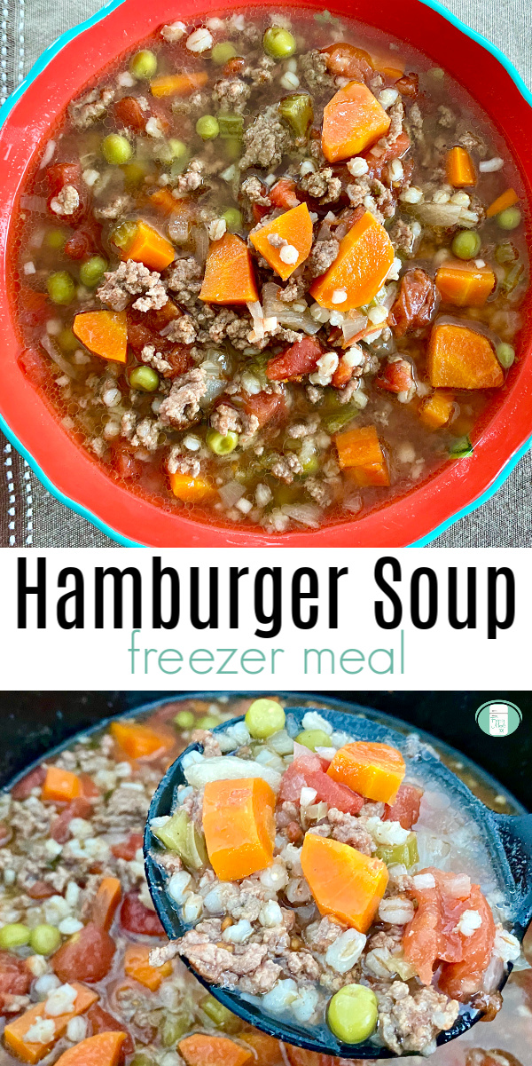 "bright orange bowl filled with chunky soup. Text reads ""Hamburger Soup freezer meal"""