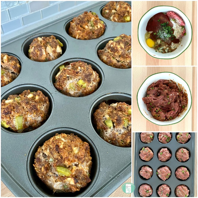 collage of meatloaf muffins being put together in a bowl and in the muffin pan before and after being cooked