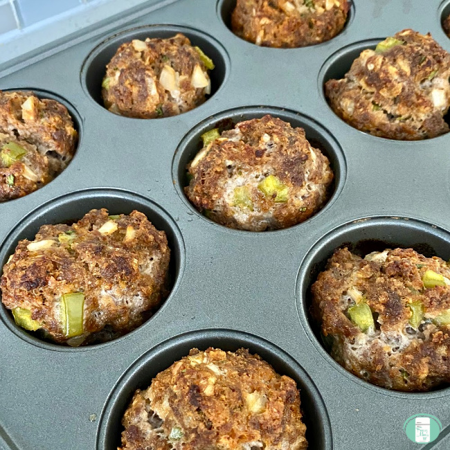 close up of meatloaf muffins in a pan