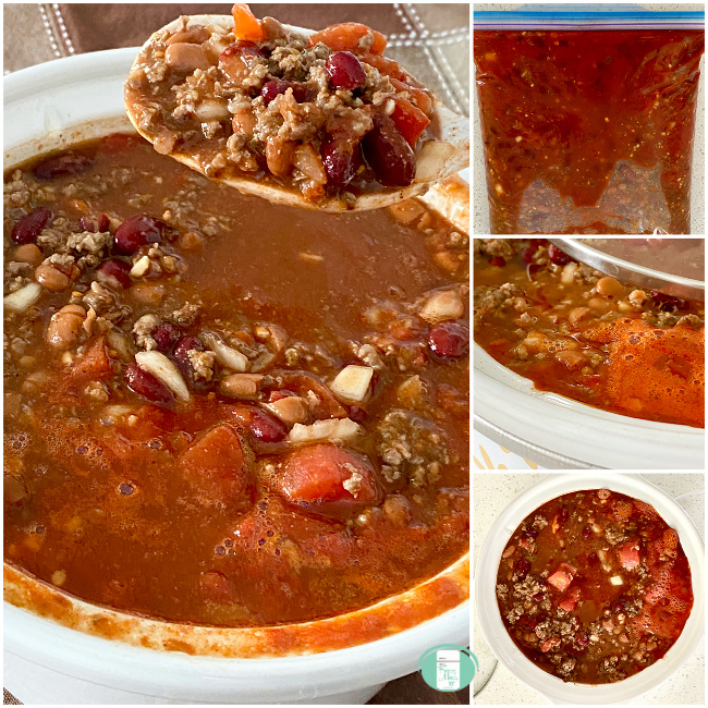 collage of freezer chili in a bag, on a spoon being lifted from a crockpot and in a bowl