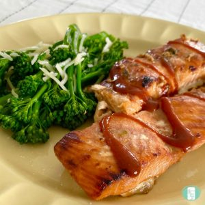 close up of BBQ salmon with broccoli