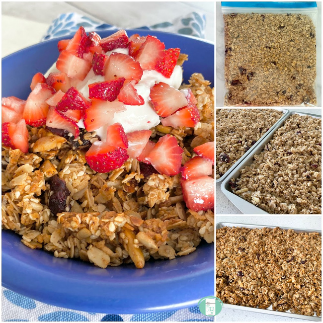 collage of homemade freezer granola in a freezer bag, on a baking sheet and in a bowl with yogurt and strawberries