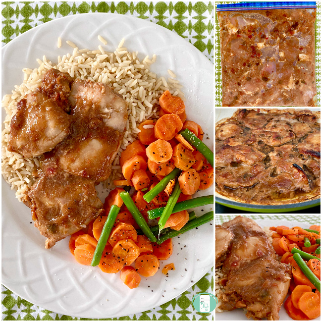 collage of gingery salsa chicken in a freezer bag, in a skillet and on a plate with rice, carrots and green beans