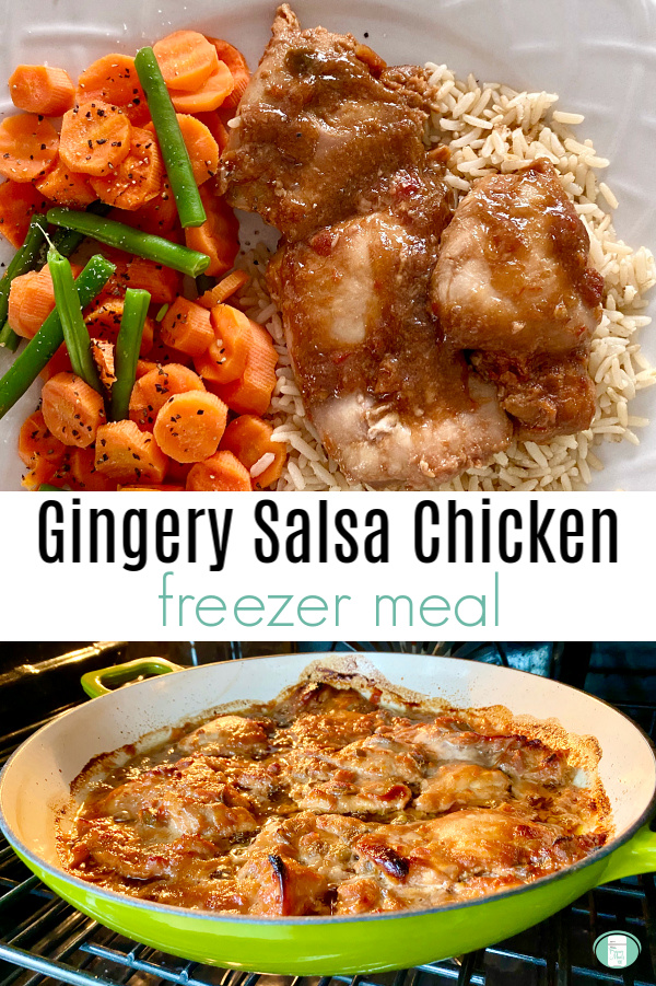 "saucy chicken on rice next to carrots and green beans and text that reads ""Gingery Salsa Chicken freezer meal"""