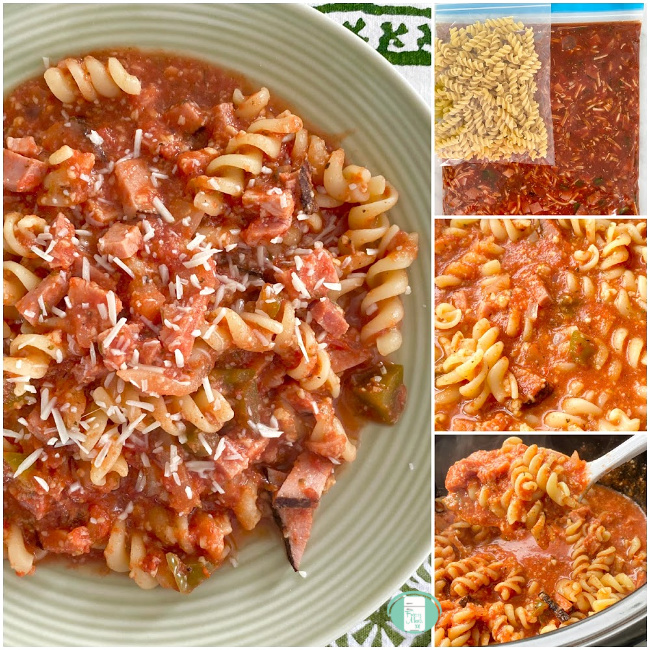 collage of pizza casserole in the freezer bag, being scooped out of the crock pot and on a plate