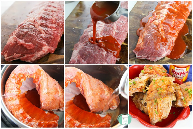 collage of steps to make buffalo ribs in the instant pot