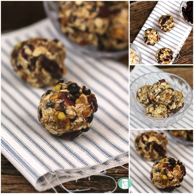 collage of cranberry pistachio energy balls on linen and in a bowl