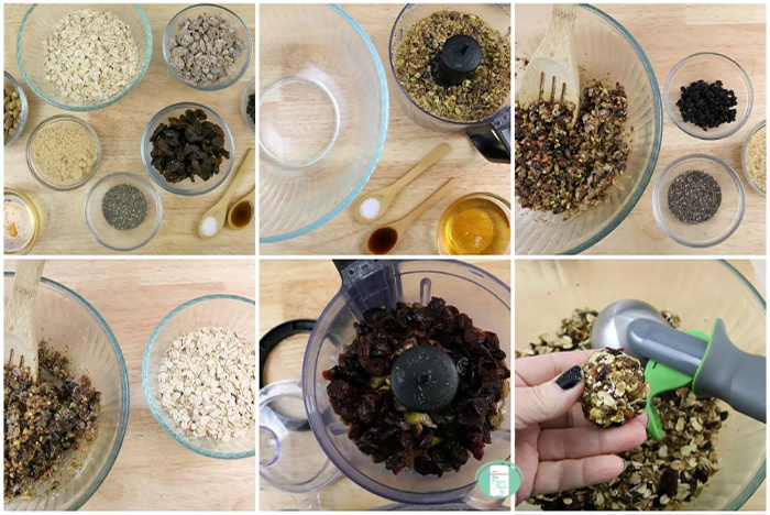 collage of ingredients and steps to make cranberry pistachio energy balls