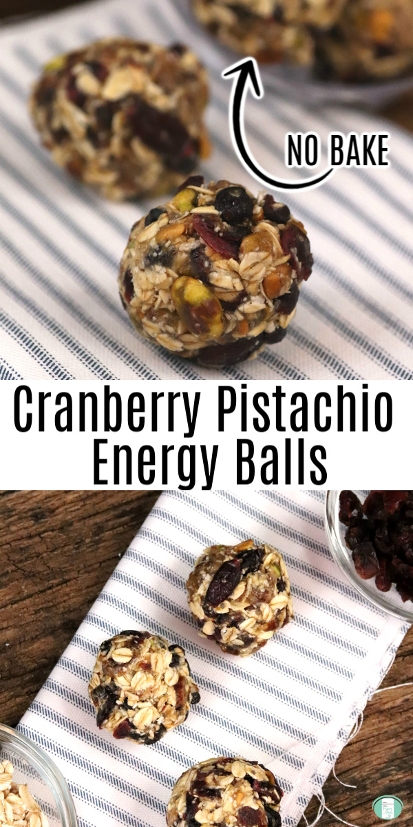 """two energy bites on a striped towel with the dough in the background. Text reads """"Cranberry Pistachio Energy Balls"""" #freezermeals101 #energyballs #cranberrypistachio"""