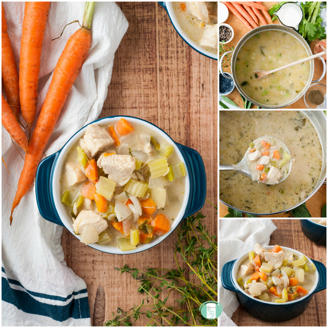 collage of steps to make chunky cream of chicken soup in the pot, in a ladle and in a bowl