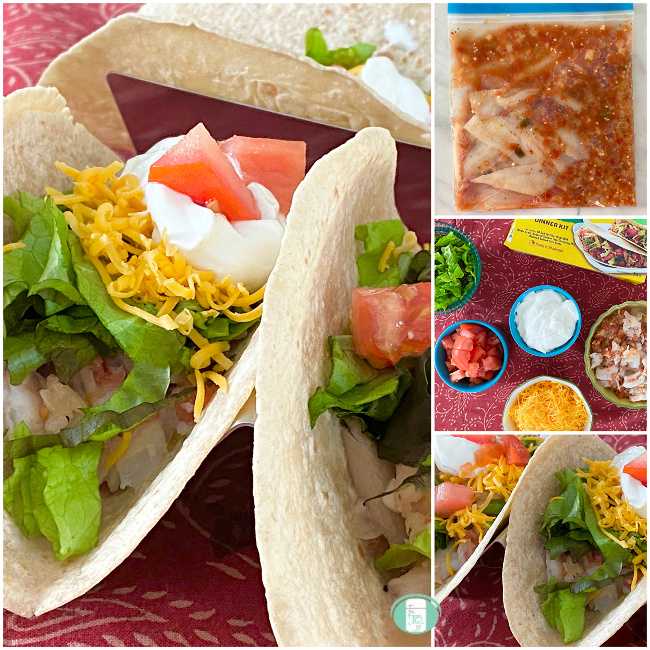 collage of ingredients and steps to make easy salsa fish tacos, in the freezer bag and finished, ready to eat