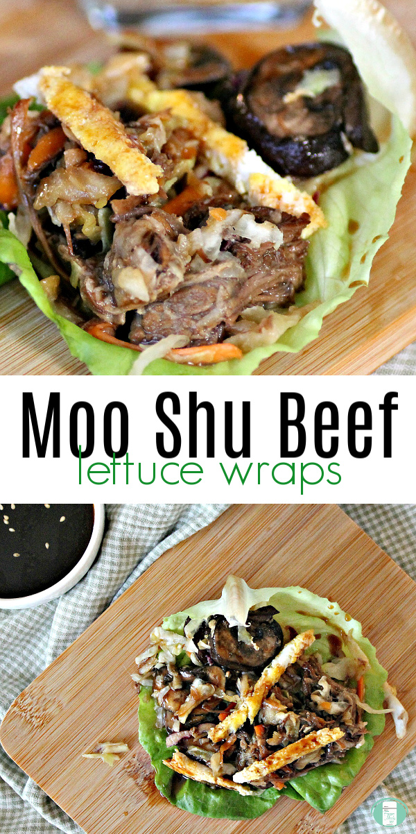 "lettuce with strips of beef in it. Text reads ""Moo Shu Beef lettuce wraps"" #freezermeals101 #mooshubeef #lettucewraps #beeflettucewrap #freezerbeef"