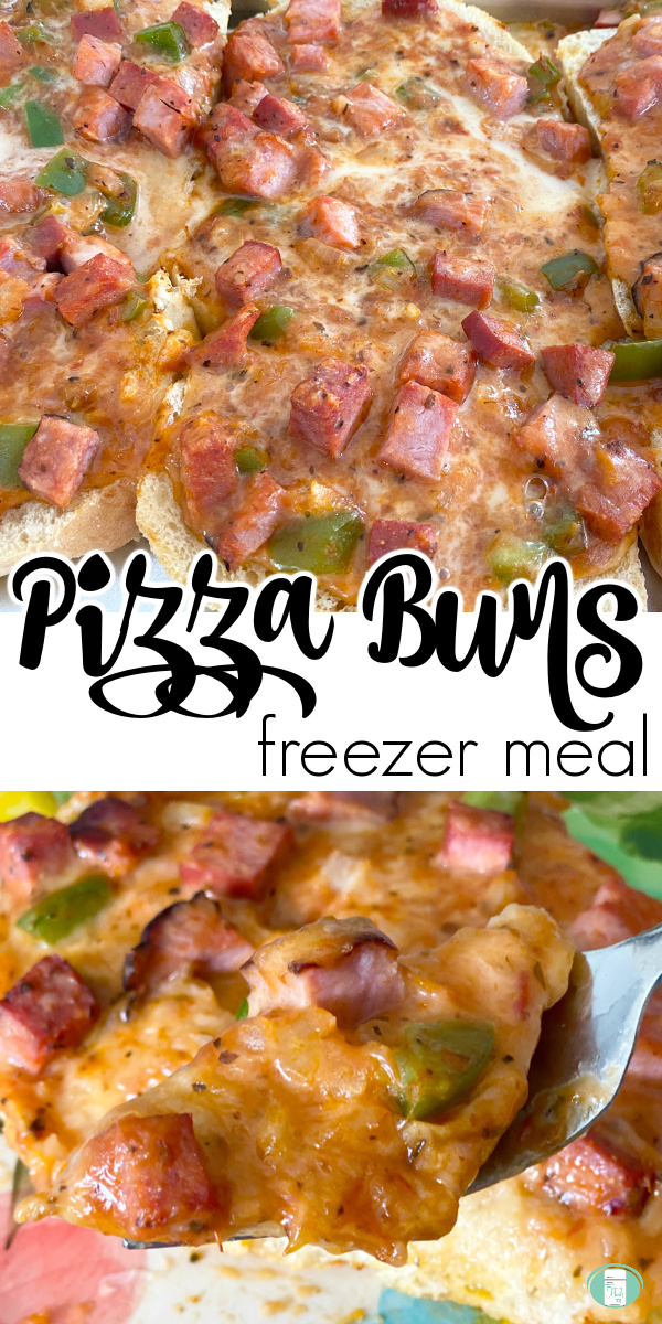 """cheesy chunky topping on bread. Text reads """"Pizza Buns freezer meal"""""""