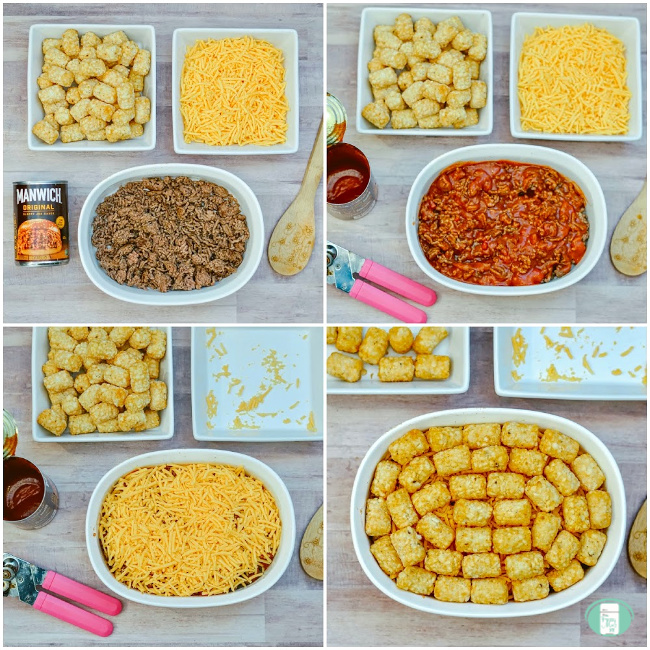 collage of steps to make tater tot sloppy joes casserole