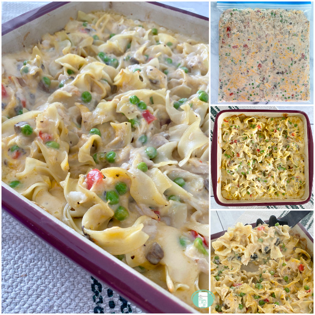 collage of tuna casserole in a freezer bag and in a casserole dish