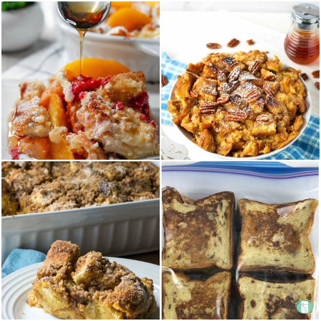 collage of various french toast freezer meals