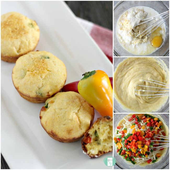 collage of steps to make Mexican cornbread muffins from bowl to plate