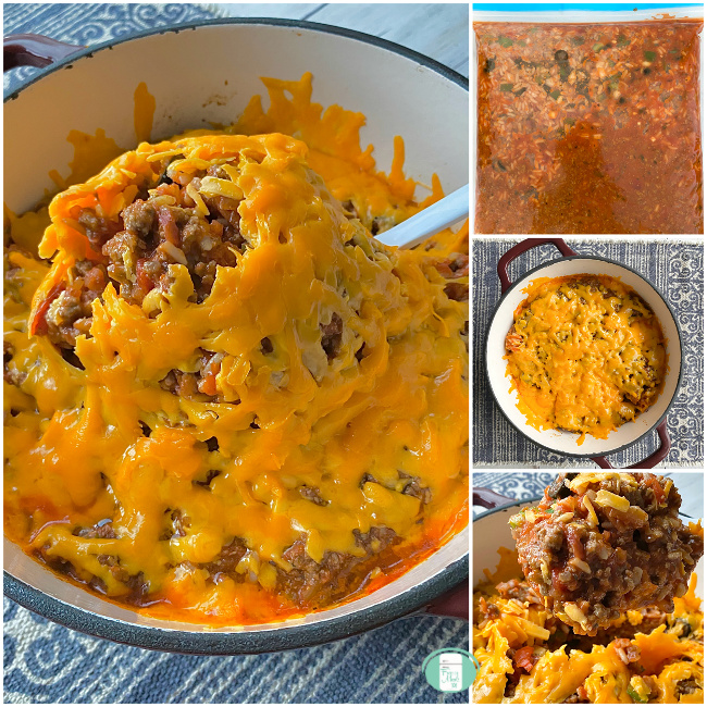 collage of Spanish rice casserole in a freezer bag, in a pot topped with cheese and being lifted with a spoon to serve