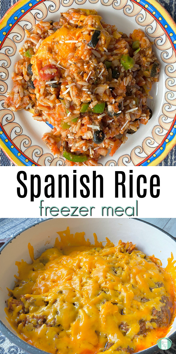 "multi coloured plate heaped with cheesy rice casserole. Text reads ""Spanish Rice freezer meal"""