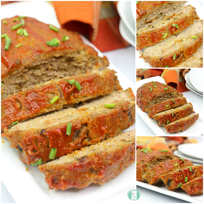 a collage of photos of sliced meatloaf
