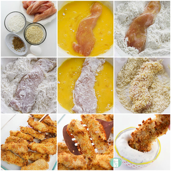 collage of the stages of making chicken strips