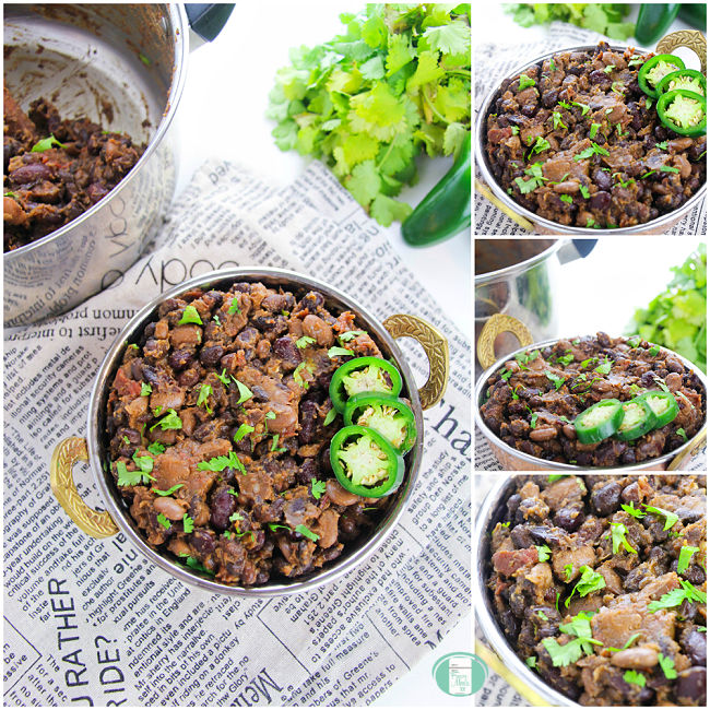 collage of photos of a bean stew in a metal bowl on newspaper with greens in the background