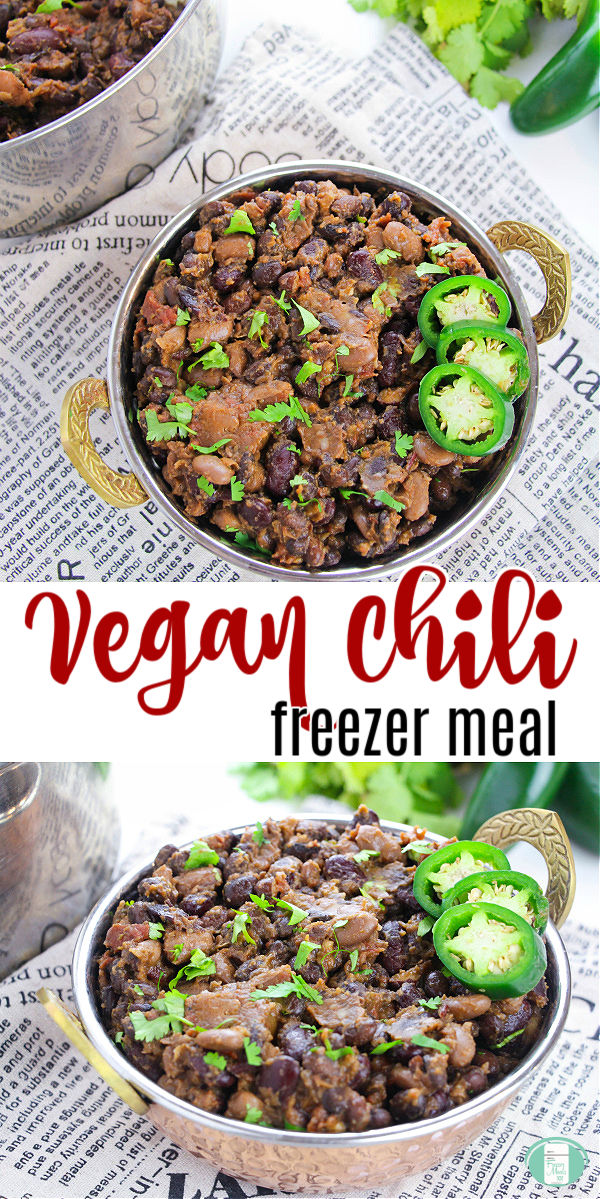"metal bowls of chili with jalapenos on top sit on newspaper. Text reads ""Vegan Chili freezer meal"" #freezermeals101 #veganchili #makeaheadchili #makeaheadvegan #veganfreezermeal"