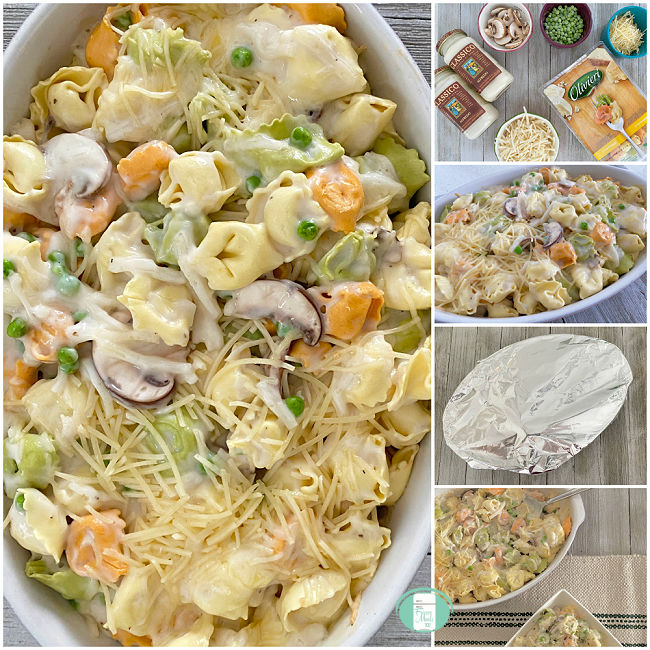 collage of photos of making baked tortellini with alfredo sauce