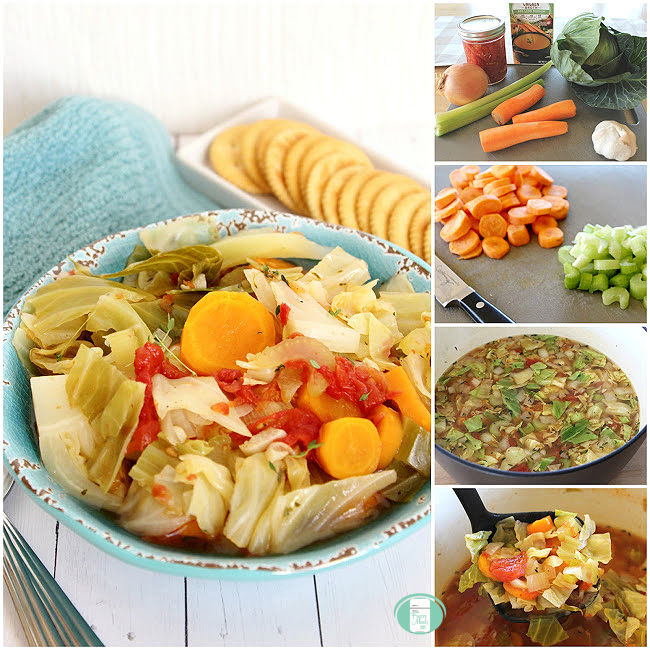 collage of photos showing the process of making cabbage soup