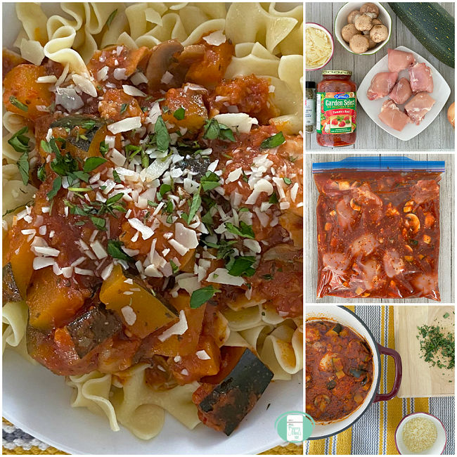 collage of photos of a chicken, vegetable, and sauce dish served over pasta