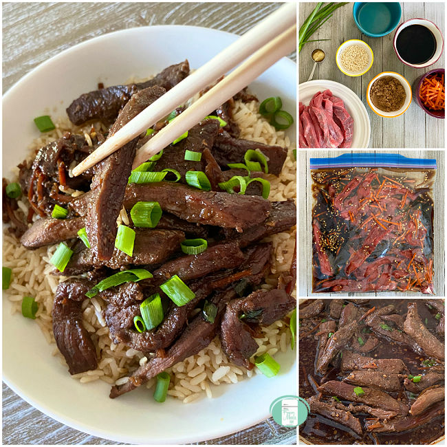collage of photos of making Mongolian beef as a freezer meal