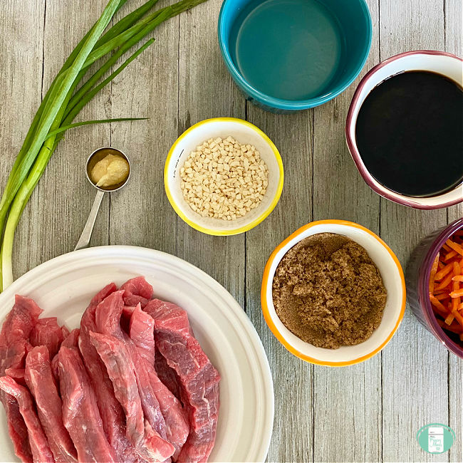beef strips, green onions, bowls of ingredients