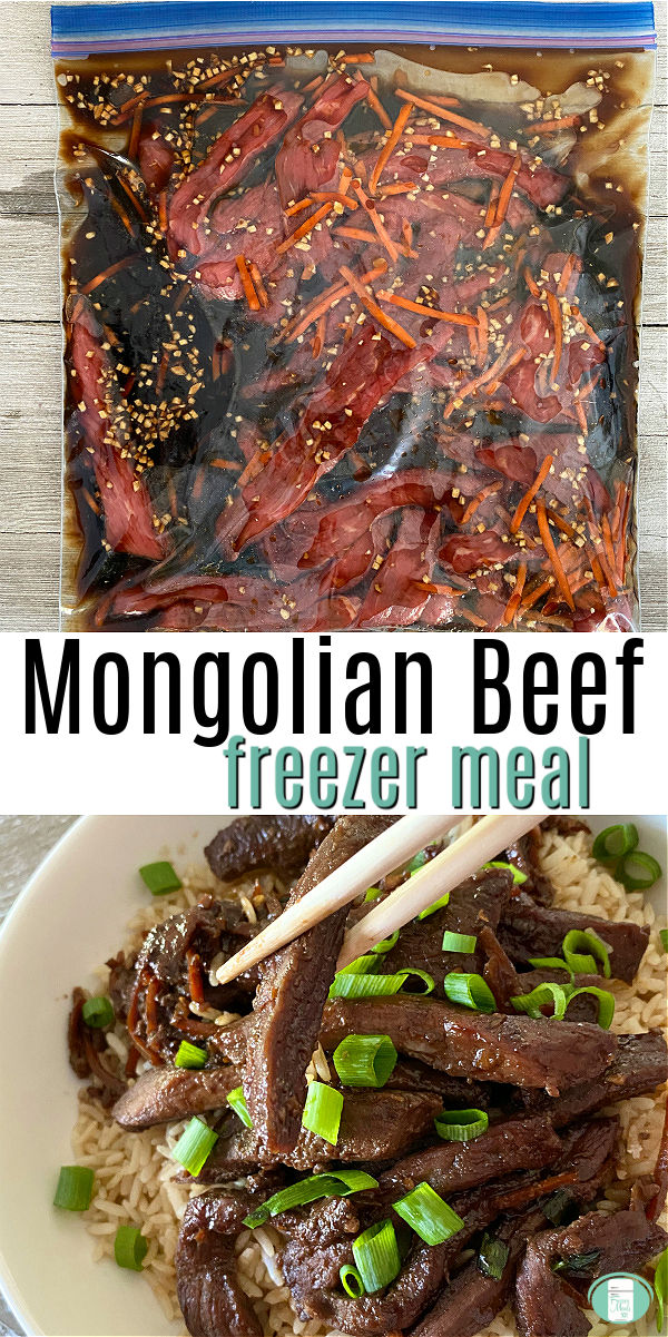bag filled with beef strips and sauce and white bowl filled with rice, cooked rice strips, and green onions with chopsticks #freezermeals101 #mongolianbeef #beefdinner #beeffreezermeal #makeahead #Asianfreezermeal