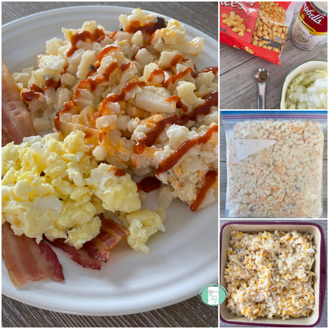 collage of photos showing making freezer to oven hash brown casserole