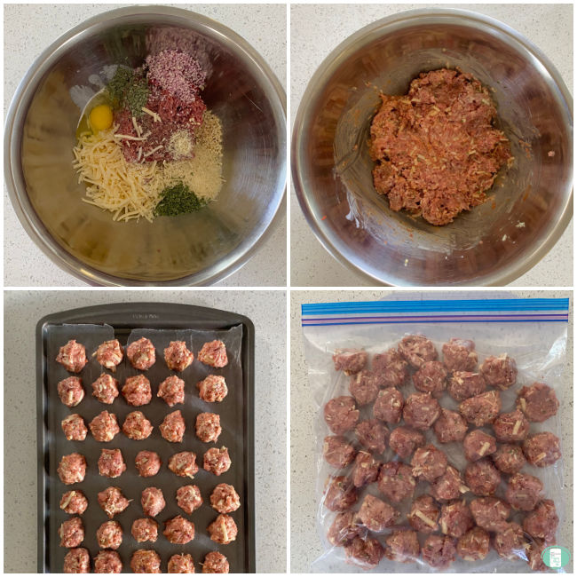 mixture for making meatballs in a bowl, then the meatballs on a cookie sheet, then in a clear plastic bag
