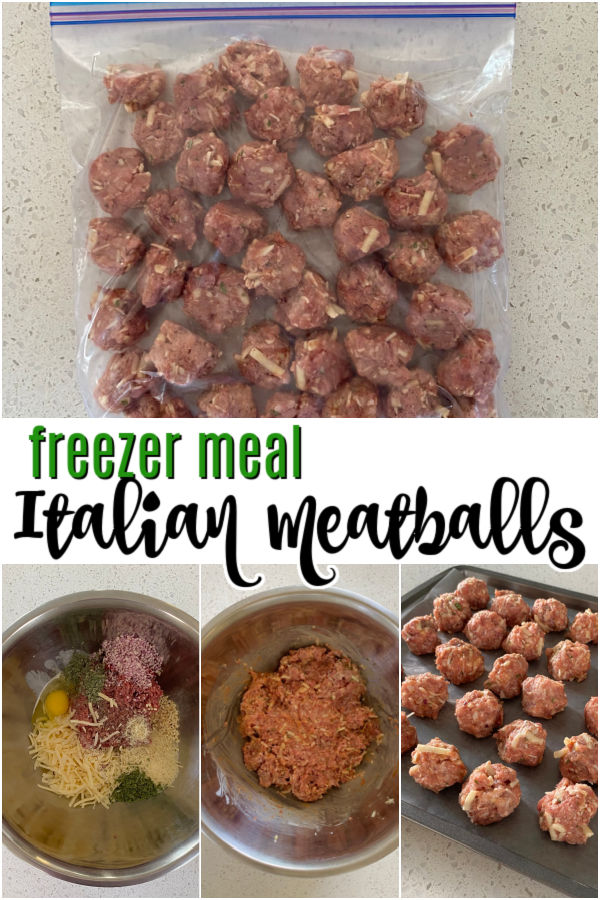 """raw meatballs in a bag on top. bowl of meatball mixture on bottom. Text reads """"freezer meal Italian meatballs"""""""