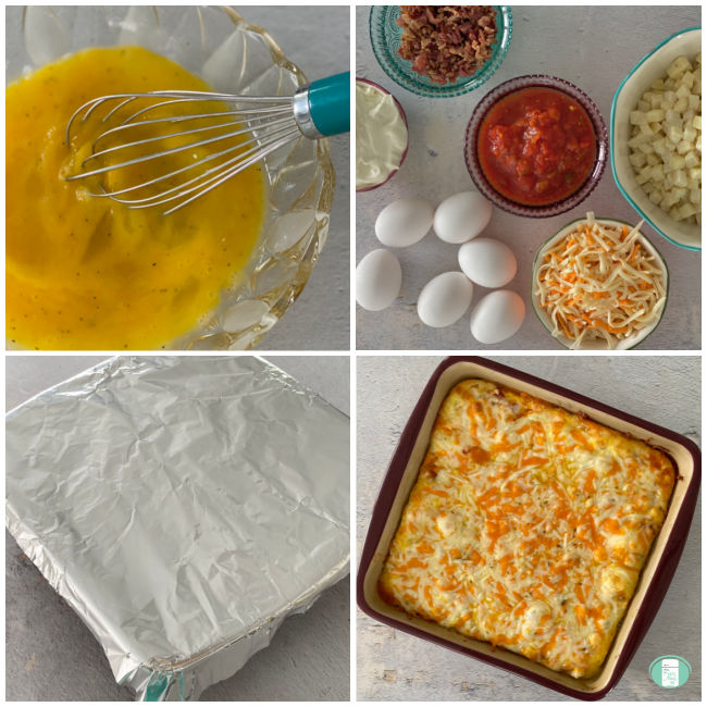 process of making breakfast casserole with eggs and hash browns
