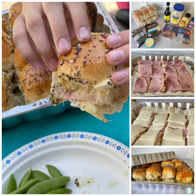 collage of making ham and cheese sliders including the ingredients set out