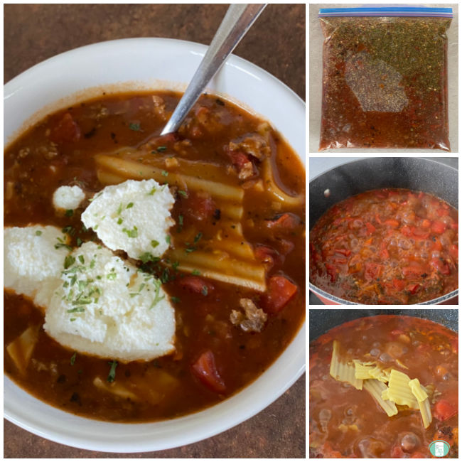collage of photos of a make ahead lasagna soup