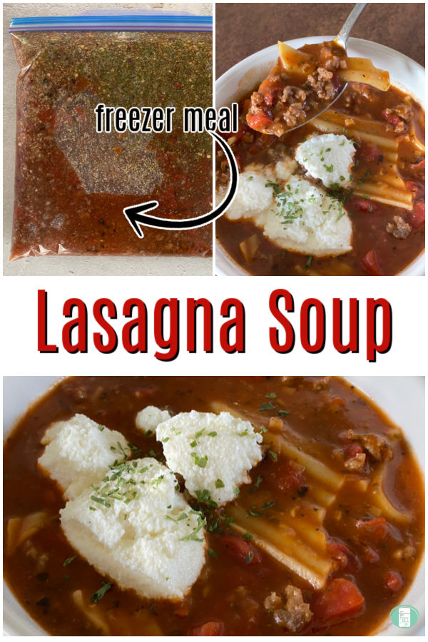 collage of three photos of a bag and then bowl of lasagna soup topped with three dollops of white cheese