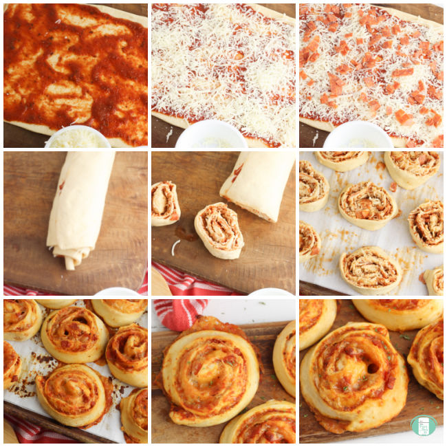 a collage of photos showing the process of making pizza scrolls with refrigerated crescent dough